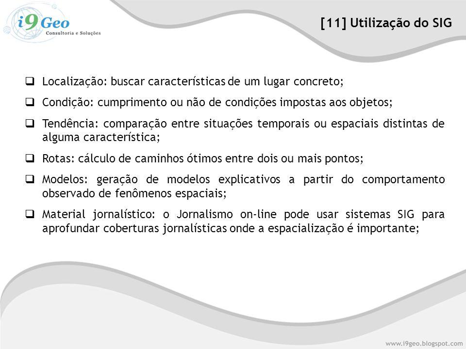 [11] Utilização do SIG Localização: buscar características de um lugar concreto; Condição: cumprimento ou não de condições impostas aos objetos;